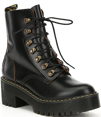 Dr. Martens Leona Smooth Leather Lug Sole Combat Boots