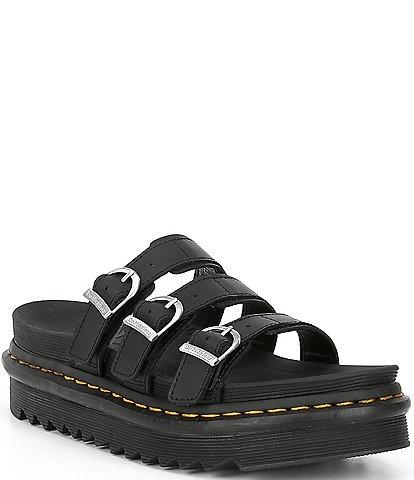 Dr. Martens Women's Blaire Leather Buckle Platform Slide Sandals