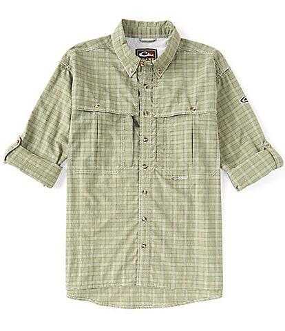 Drake Clothing Co. Wingshooter Plaid Performance Roll-Tab Long-Sleeve Woven Sun Shirt