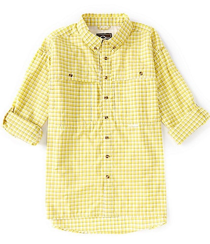Drake FeatherLite Checked Plaid Wingshooter Performance Long-Sleeve Woven Shirt