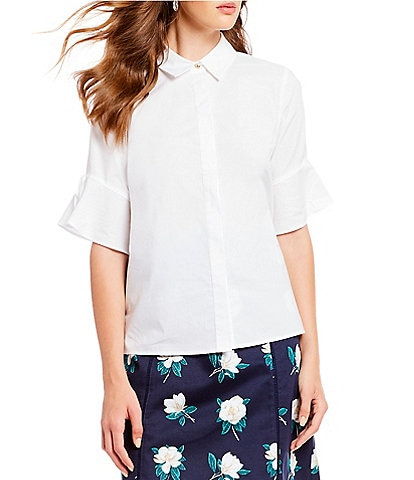 Draper James Solid Bell-Sleeve Button Down