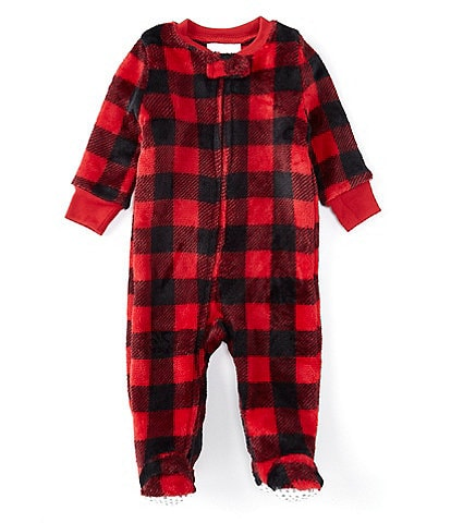 Dream Life Baby Newborn-9 Months Family Matching Buffalo Check Printed Footed Sleeper