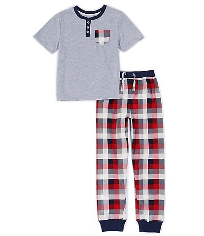 Dream Life Big Boys 8-16 Henley Tee & Plaid Pajamas 2-Piece Set