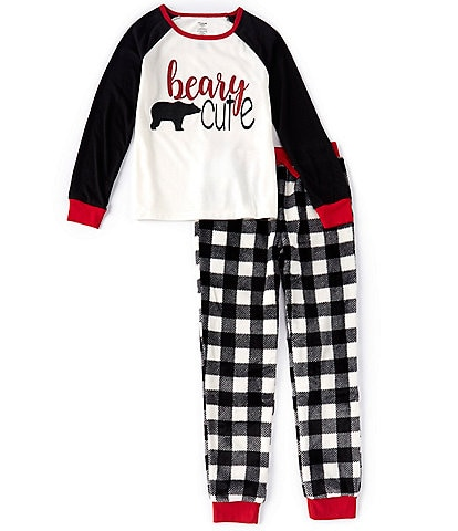 Dream Life Big Girls 7-14 Family Matching Beary Cute Pajama Tee & Buffalo Plaid Pant Set