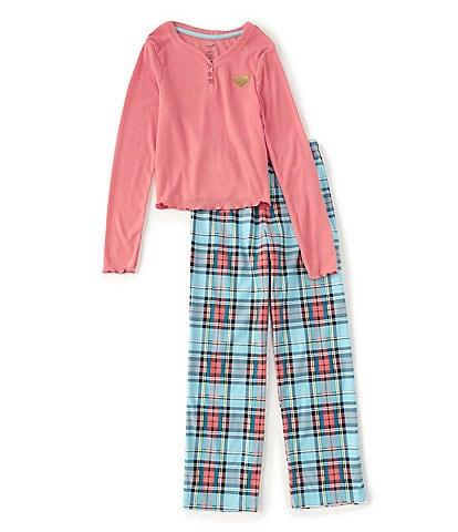 Dream Life Big Girls 7-16 Long-Sleeve Solid Top & Plaid Pajama Pants set