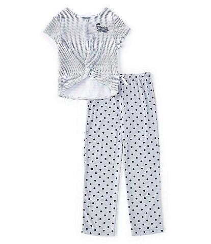Dream Life Big Girls 7-16 Striped Short-Sleeve Knot Top and Polka Dot Bottoms 2-Piece Pajama Set