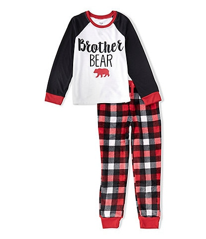 Dream Life Boys 2-16 Family Matching Brother Bear Holiday Plaid 2-Piece Set