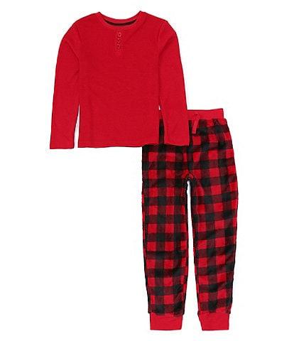 Dream Life Boys 2-16 Family Matching Long Sleeve Henley Shirt & Buffalo Check Printed 2-Piece Pajama Set