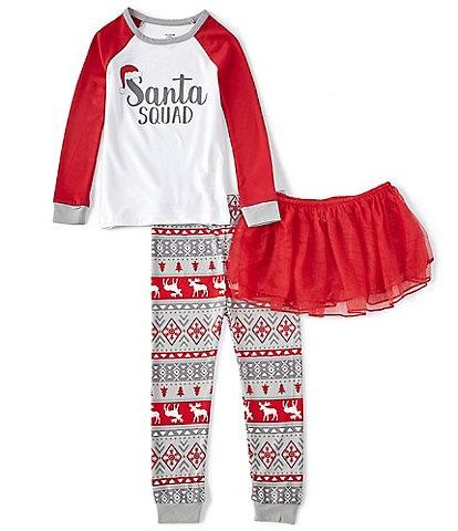 Dream Life Little Girls 2T-6X Family Matching Santa Squad Fair Isle 3-Piece Pajamas Set