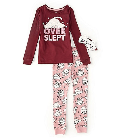 Dream Life Little Girls 2T-6X Long-Sleeve Over Slept Graphic Top & Pant Pajama Set
