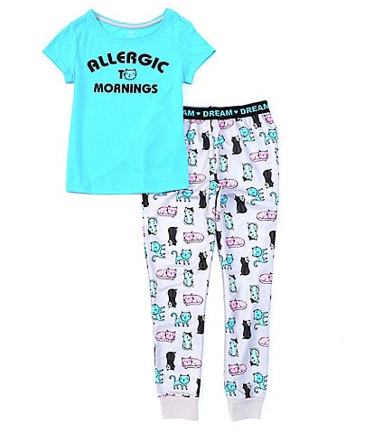 Dream Life Little Girls 2T-6X Short-Sleeve Allergic To Mornings Jersey Sleep Tee & Cat-Printed French Terry Pant Set