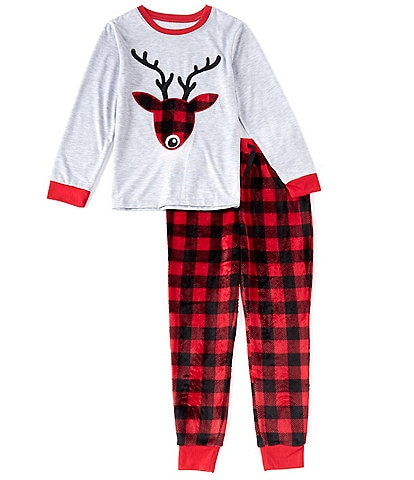 Dream Life Little/Big Boys 2-16 Family Matching Plaid Deer 2-Piece Pajamas Set
