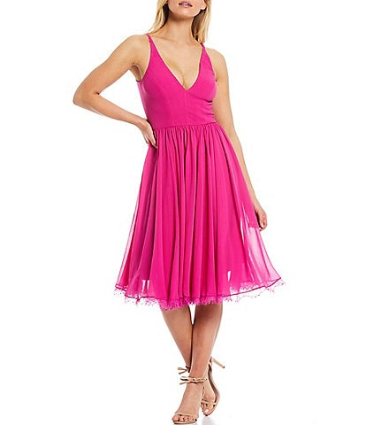 Dress the Population Alicia Chiffon V-Neck Sleeveless Midi Dress