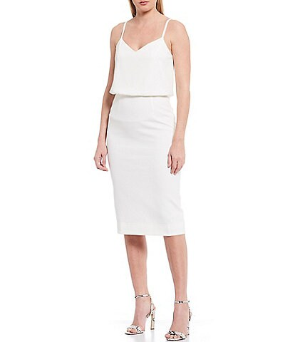 Dress the Population Alondra V-Neck Sleeveless Blouson Midi Dress