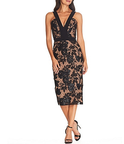 Dress the Population Aspen Plunge V-Neck Embroidered Lace Sequin Bodycon Midi Dress