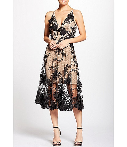 Dress the Population Audrey 3D Floral Lace Plunging V-Neck Sleeveless Midi Dress