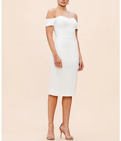 Dress the Population Bailey Off-the-Shoulder Midi Length Sheath Dress