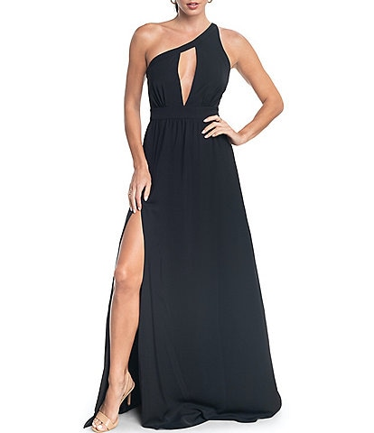 Dress the Population Bea One Shoulder Cut Out Front Sleeveless Gown