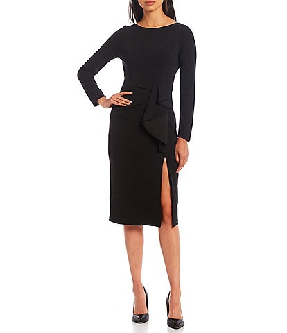 Dress the Population Boat Neck Long Sleeve Ruffle Front Detail Slit Front Crepe Midi Micah Bodycon Dress