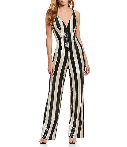 Dress the Population Bobbie Striped Sequin Jumpsuit