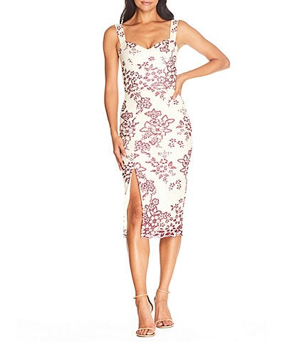 Dress the Population Candence Embroidered Sweetheart Neck Sleeveless Slit Front Bodycon Midi Dress