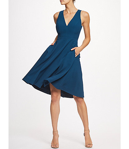 Dress the Population Catalina Crepe V-Neck Sleeveless A-Line Dress