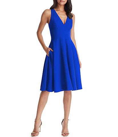 Dress the Population Catalina Crepe V-Neck Sleeveless A-Line Dress