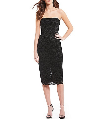 Dress the Population Claire Shimmering Lace Strapless Midi Dress