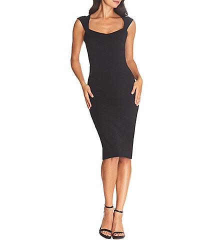 Dress the Population Cordelia Stretch Crepe Sweetheart Neck Bodycon Midi Sheath Dress