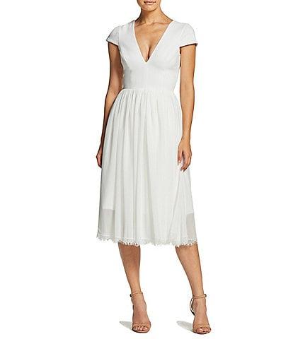 Dress the Population Corey V-Neck Cap Sleeve Lace Hem Dress