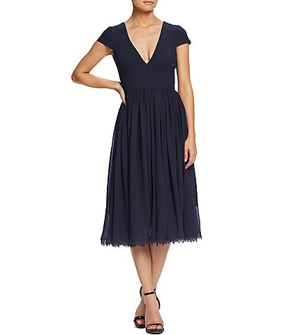 Dress the Population Corey V-Neck Cap Sleeve Lace Hem Midi Dress