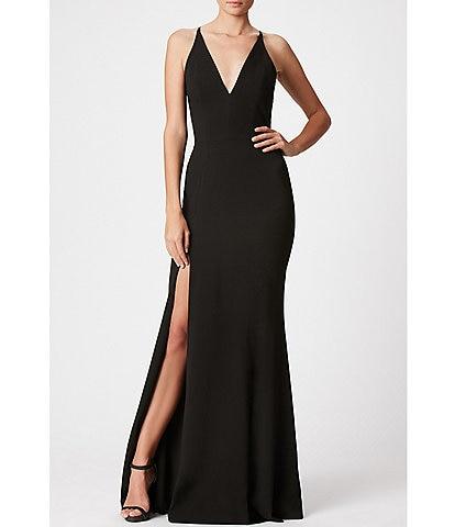 Dress the Population Crepe Plunging V-Neck Side Slit Gown