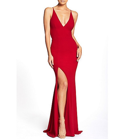 Dress the Population Crepe Plunging V-Neck Side Slit Gown