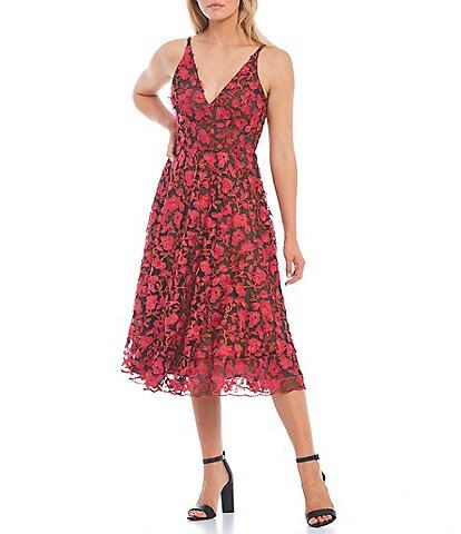 Dress the Population Elisa A-Line 3D Floral Embroidered Midi Dress
