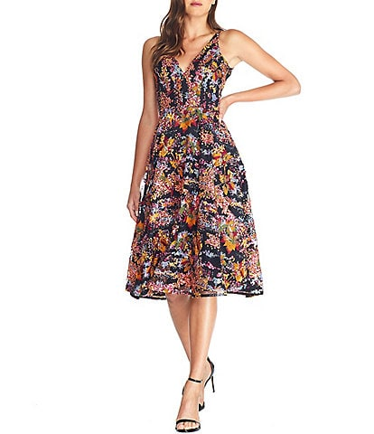 Dress the Population Elisa V-Neck Sleeveless Midi Dress