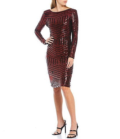 Dress the Population Emery Boat Neck Long Sleeve Low Back Bodycon Dress