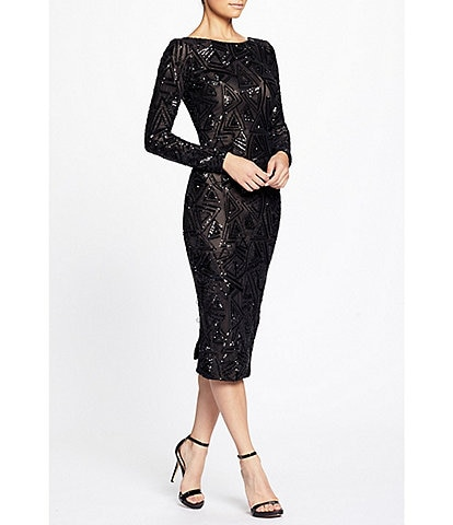 Dress the Population Emery Scoop Back Long Sleeve Midi Sequin Back Slit Sheath Dress