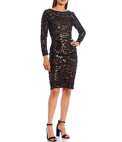 Dress the Population Emery Sequin Boat Neck Long Sleeve Sheath Cocktail Dress
