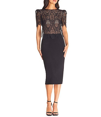 Dress the Population Kenna Puff Sleeve Lace Overlay Sheath Midi Dress