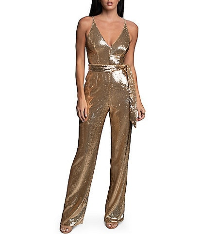 Dress the Population Kinsley Sequin V-Neck Tie Waist Sleeveless Jumpsuit