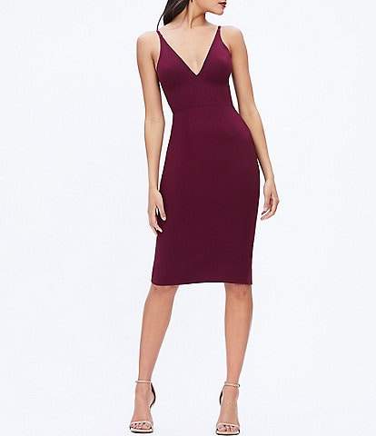 Dress the Population Lyla Crepe Plunge Neck Sleeveless Midi Dress