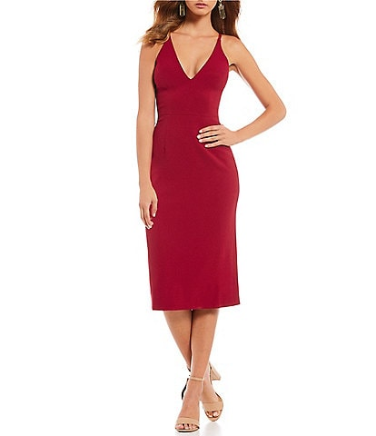 Dress the Population Lyla Crepe Plunge Neck Midi Dress