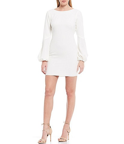 Dress the Population Mackenzie Long Sleeve Plunge Back Mini Sheath Dress