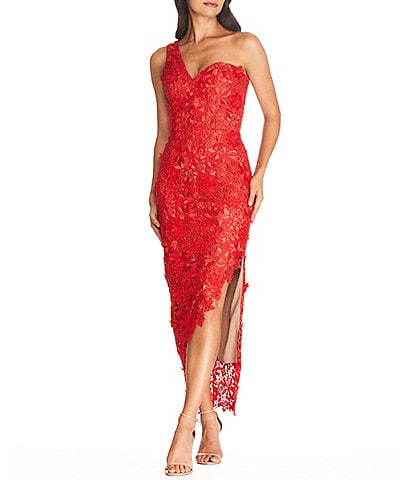 Dress the Population Magnolia Asymmetrical One Shoulder Bodycon Lace High Slit Midi Dress