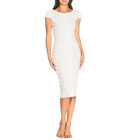 Dress the Population Marcella Sequin Cap Sleeve Scoop Back Midi Sheath Dress