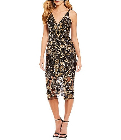 Dress the Population Margo Floral Sequin Midi Dress