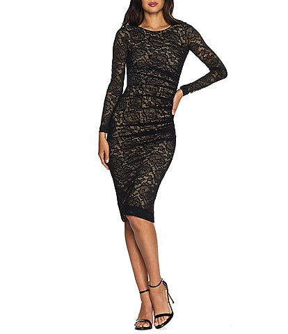 Dress the Population Mona Floral Lace Long Sleeve Scoop Back Ruched Bodycon Sheath Dress