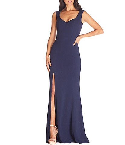 Dress the Population Monroe Sweetheart Neck Front High Slit Long Gown