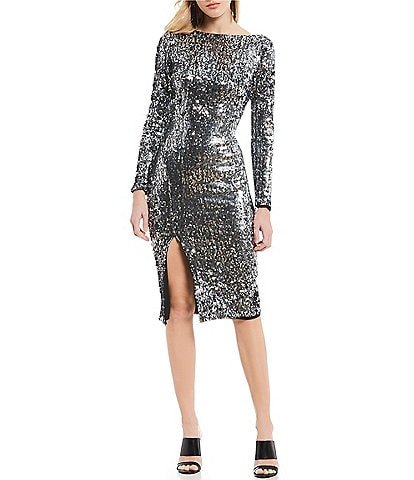 Dress the Population Natalie Sequin Scoop Back Midi Dress