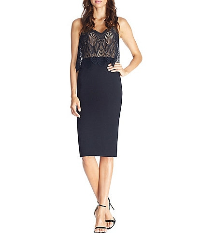 Dress The Population Paula Sweetheart Neckline Lace Popover Sheath Dress